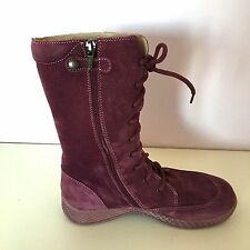 NEW NIB Primigi Girl Red Pink Raspberry Enora Suede Boots Lace Up & Zip 35 2.5 3
