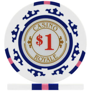 Crown Casino Royale 14g Poker Chips - White $1 (Roll of 25)