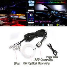 6 IN 1 Car RGB LED Atmosphere Light Strip Kit 8M Optical Fiber Phone APP Control