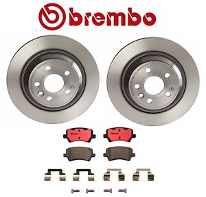 For Volvo S60 S80 XC70 Rear Brake Kit Solid Disc Rotors Ceramic Pads Set Brembo
