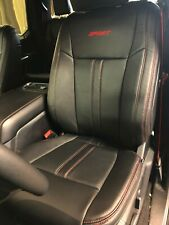 2019-2020 Ford F-150 XLT SuperCrew KATZKIN Leather Seat Covers Black Sport Red