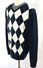 TOMMY HILFIGER V-Neck Argyle sz L | Front Logo | Pullover Jumper Sweater | Navy