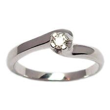 Anillo solitario para compromiso de oro blanco 18 ct con diamante brillante