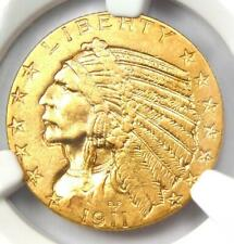 """1911-S Indian Gold Half Eagle $5 Coin - Certified NGC AU55 - Rare """"S"""" Mint!"""