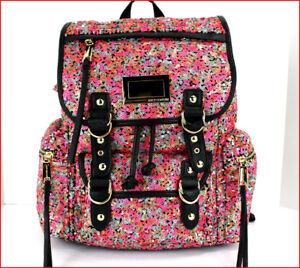 Juicy Couture Designer PINK Orange Silver SEQUINS Large Backpack Purse Tote ❤️❤️