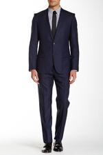 NEW $895 HUGO BOSS Amaro Heise Red Label Slim Dark Navy Blue Wool Suit 38R 34W