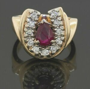 Details about  /1.25 ct Round Pink Ruby /& Sim Diamond Classic Ring in 14k Yellow Gold Plated