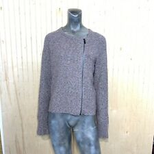 RACHEL Roy Women Large Cardigan Sweater Side Zip Gray Pink Marbled Knit Wool