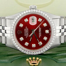 Rolex Datejust 36mm Steel Jubilee Watch with Imperial Red Dial & Diamond Bezel