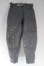 ASHMAN BLACK COWHIDE LEATHER BIKER TROUSERS SIZE 14 - WAIST 32IN/INSIDE LEG 26IN