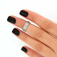 Sterling Silver 925 Knuckle Ring Checker Design Adjustable Midi Ring T49