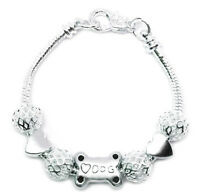 Sterling Silver Pet Lover's Dog Puppy Beaded Snake Link Chain Bracelet + GiftPkg