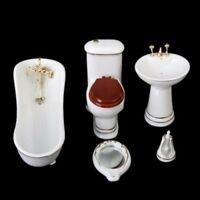 1/12 Dollhouse Bathroom Set 5PCS Bathtub Basin Toilet Mirror Toilet Brush Stand