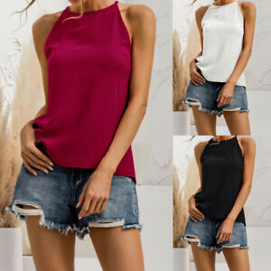 Women Sleeveless Loose Vest T Shirt Ladies Summer Camisole Cami Tops Blouse 8-20