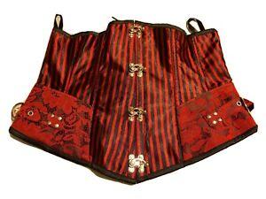 Gothic steampunk Corset, Red Black Underbust XXL