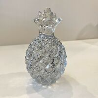 Crystal Clear Art Glass Pineapple Paperweight Figurine Tropical Tiki Decor MCM