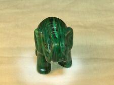 Hand Carved natural rock quartz crystal animal elephant miniature malachite