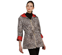 Susan Graver Water Resistant Packable Anorak Jacket w/ Pop Lining XXS NAVY/PINK