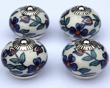 4 x Cream round with Slate Blue flowers & Teal leaves ceramic pulls (chrome)