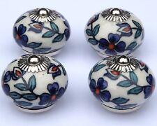 pomos de cerámica crema Redondo Pizarra flores azules & Verde Azulado Hojas x 4