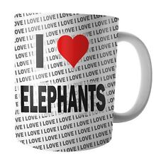 I Love Elephants - Tea - Coffee - Mug - Cup - Birthday - Christmas - Gift