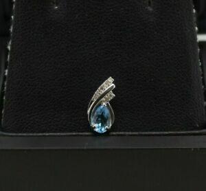 9ct White Gold Blue Topaz and Diamond Cluster Pendant