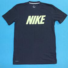 NIKE Block Letter Green Glow Graphic Print Logo Black Tee T Shirt Mens Small S