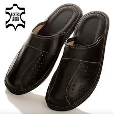 Herren LEDER HausSchuhe bis Schuhgröße 50 Pantoffeln Latschen für Männer NEU