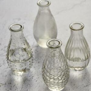 Small Textured Clear Glass Bottle Vase, Vintage Stem Bud Flower, 7x14cm