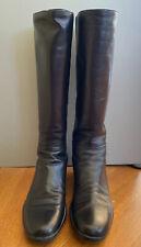 Prada Sport Black Tall Womens Leather Boots Size 38.5 8.5 3W0789 w/Box Calzature