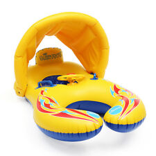 Inflatable Mother Baby Swim Float Raft Kid's Chair Seat Swim Ring Pool w/ Canopy