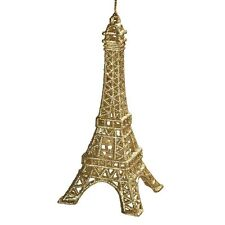 """Ornament - Eiffel Tower - Gold Glittered - Highly Detailed -  5 1/2"""""""