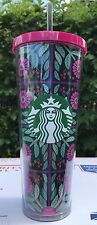 NEW 2017 STARBUCKS COLD CUP FLORAL PINK PLANTS FLOWERS ACRYLIC TUMBLER 24 oz