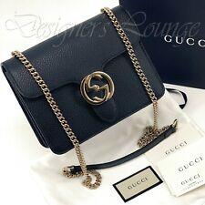 NEW GUCCI Black Interlocking GG Leather Chain Crossbody Shoulder Bag 510304 Auth