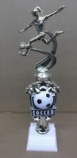 SOCCER  trophy female theme riser on weighted white base