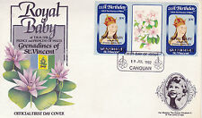 CANOUAN 1982 BIRTH OF PRINCE WILLIAM 50c GUTTER PAIR FIRST DAY COVER