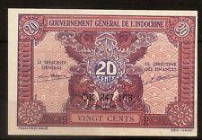 Billet 20 Cents Gouvernement Général de l'Indochine. N.D. (1942) TTB