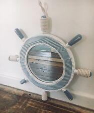 *NEW* Nautical Mirror Ship Boat Steering Wheel Beach Shabby Chic Rope Blue White