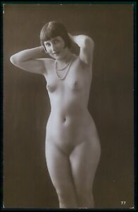 French full nude woman flapper original 1920s old RPPC photo postcard