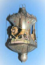 antiker Glas Christbaumschmuck Karussell mit Dresdner Pappe und leonisch. Draht