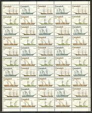 Canada #670-673, 1975 8c Coastal Vessels/Ships, Se-Tenant Sheet of 50 Unused NH