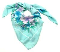 """Vtg JP Italy Tropical Lotus Hibiscus Flower Blossoms Sheer 35"""" Square Headscarf"""