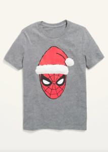 NWT Boys Girls Old Navy Gender-Neutral Spider-Man Christmas Tee Grey Marl 10-12