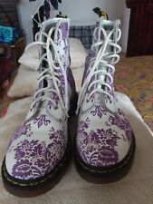 DR MARTENS PURPLE FLOCK FLORAL 1460 WHITE LEATHER BOOTS UK 7 VGC