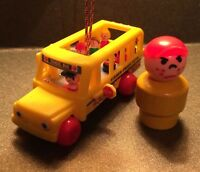 VINTAGE FISHER PRICE LITTLE PEOPLE BUS ORNAMENT- ONE OF A KIND! GREAT GIFT!!