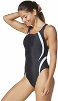 Speedo Women's Swimsuit One Piece Creora Highclo Quantum Splice, Black, Size 8.0