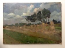 Antique Oil French Impressionist Painting 19thC Summer Landscape Alfred SISLEY