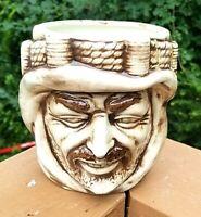 Vintage Arabian Man Face with Rope Keffiyeh Ceramic Planter Vase