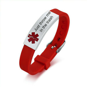 Just throw me in the trash Medical Alert ID Bracelet Adjustable Silicone Band