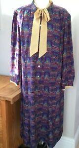 Vintage Irringer Satiny Pussy Bow Purple Buffet Patterned Dress UK 16/18